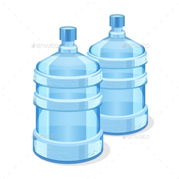 Two Realistic Plastic Bottles for Office Water - Food Objects