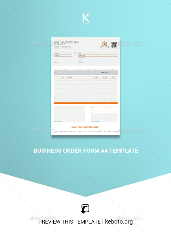 Business Order Form A4 Template - Miscellaneous Print Templates