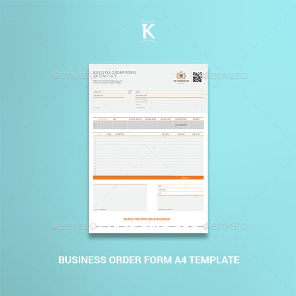 Business Order Form A4 Template
