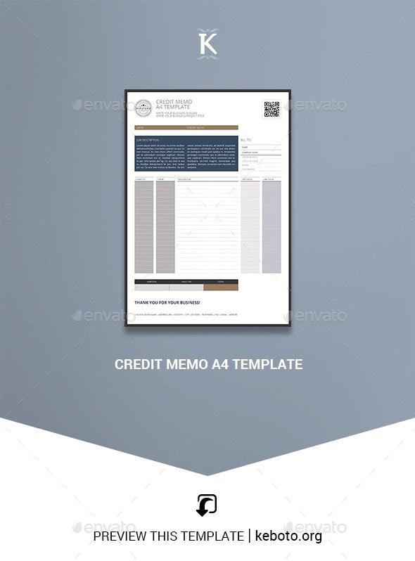 Credit Memo A4 Template - Miscellaneous Print Templates