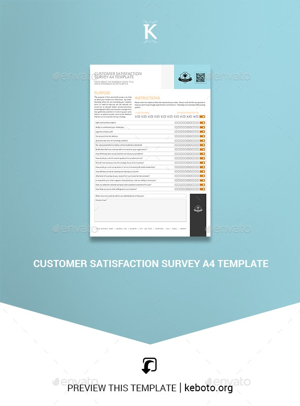 Customer Satisfaction Survey A4 Template - Miscellaneous Print Templates