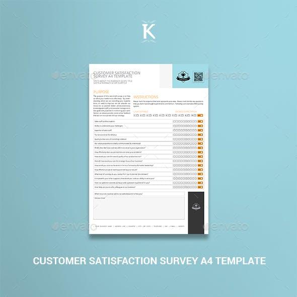 Customer Satisfaction Survey A4 Template