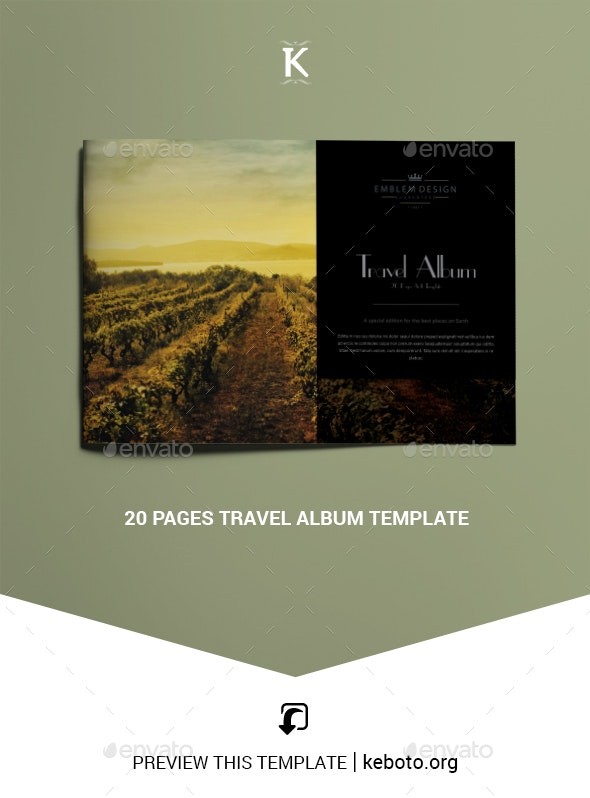 20 Pages Travel Album Template - Photo Albums Print Templates