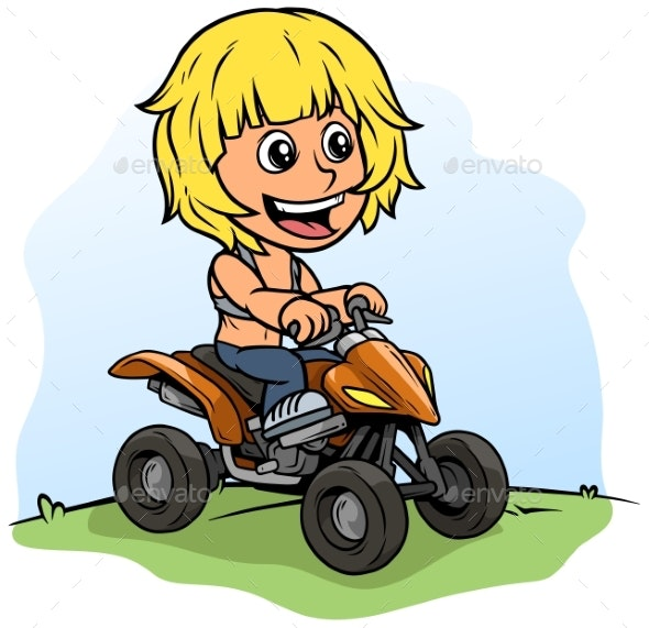 Cartoon Boy Character Driving Quad Motorbike - People Characters