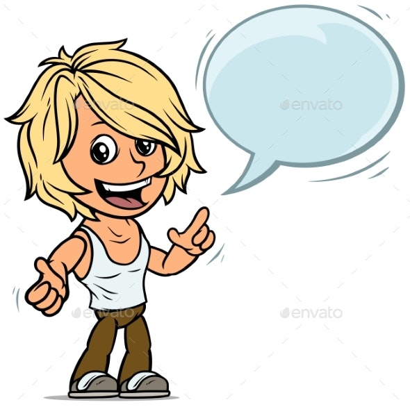 Cartoon Blonde Boy Character with Speech Bubble - People Characters