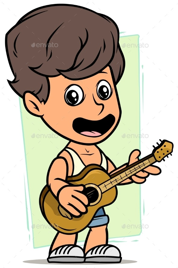 Cartoon Boy Character with Wooden Acoustic Guitar - People Characters