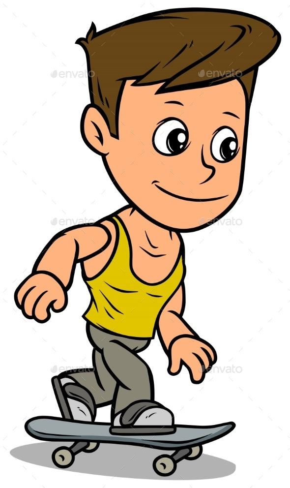 Cartoon Boy Character Riding on Skateboard - People Characters