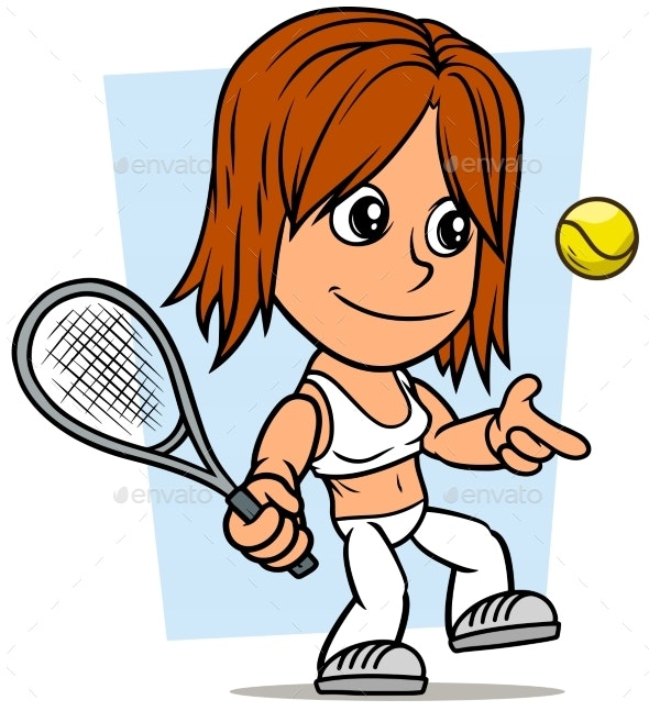 Cartoon Girl Character with Tennis Racket and Ball - People Characters