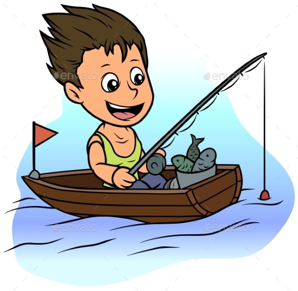 Cartoon Boy Character Fishing in Rowboat - People Characters