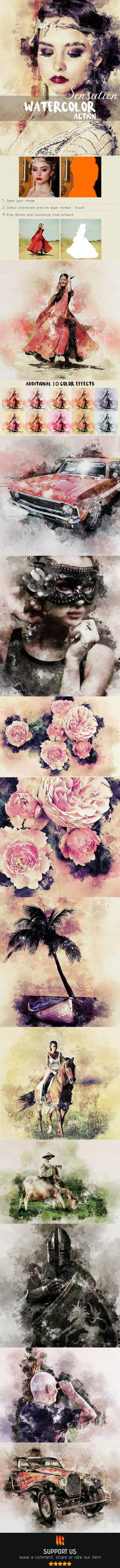Sensation - Watercolor Photoshop Action - Photo Effects Actions