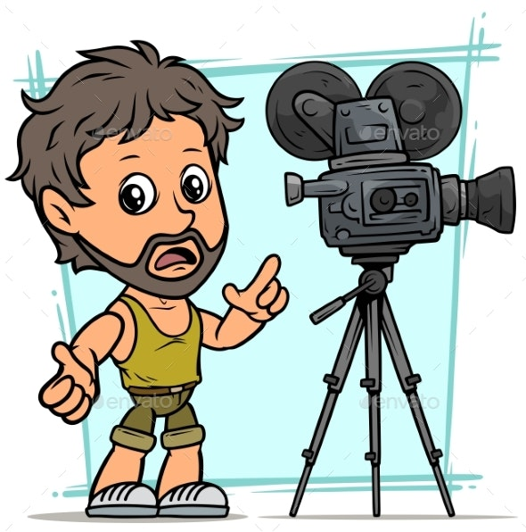 Cartoon Bearded Boy Character with Movie Camera - People Characters