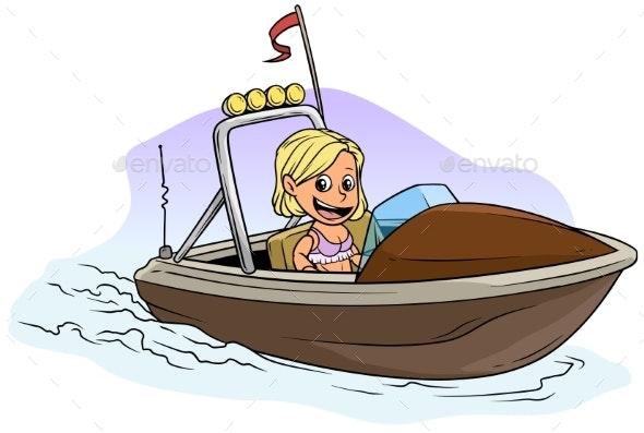 Cartoon Blonde Girl Character on Brown Motor Boat - People Characters