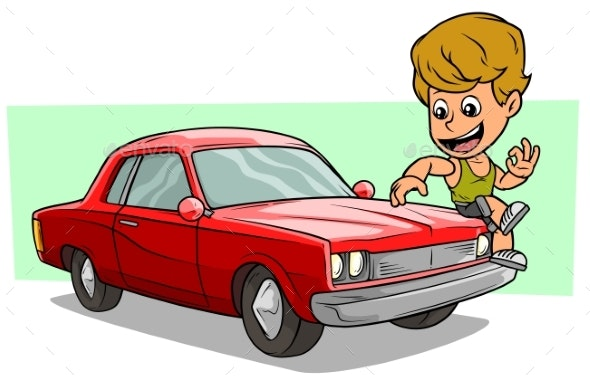 Cartoon Boy Character on Red American Retro Car - People Characters