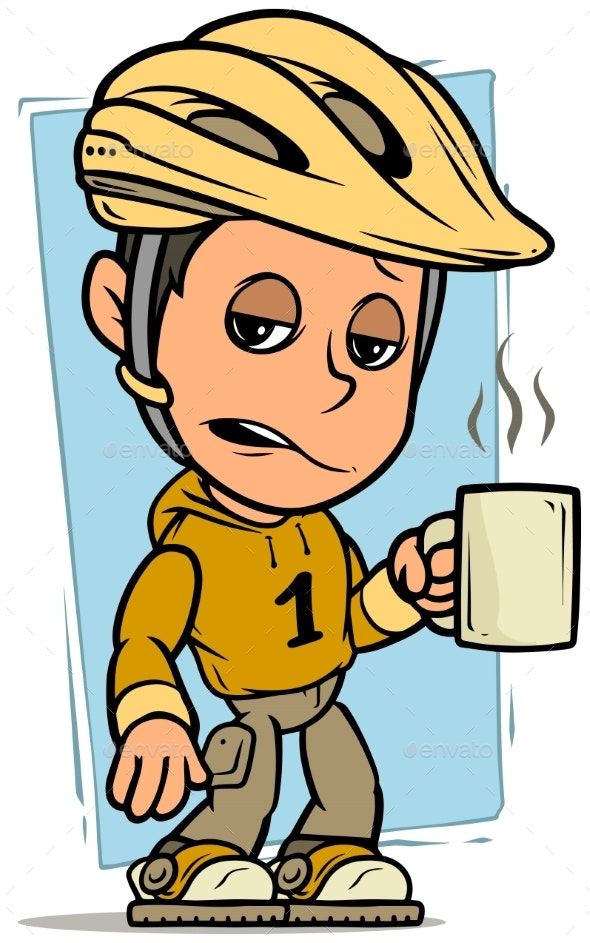 Cartoon Cyclist Boy Character with Cup of Coffee - People Characters
