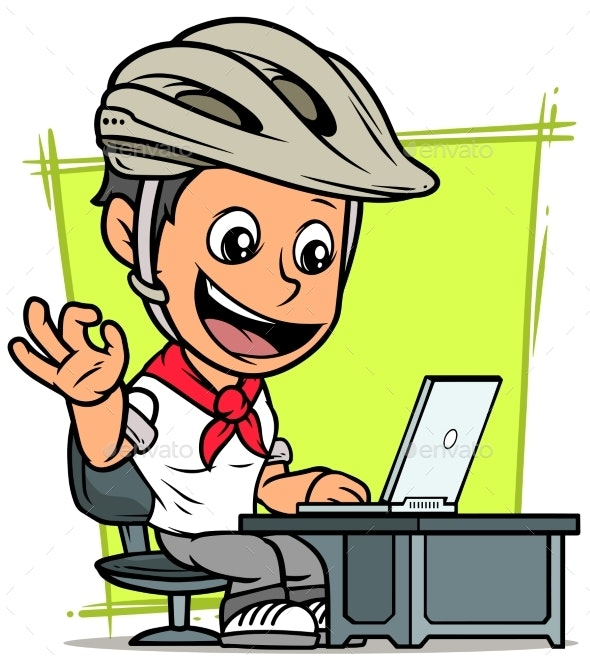 Cartoon Cyclist Boy Character with Laptop - People Characters