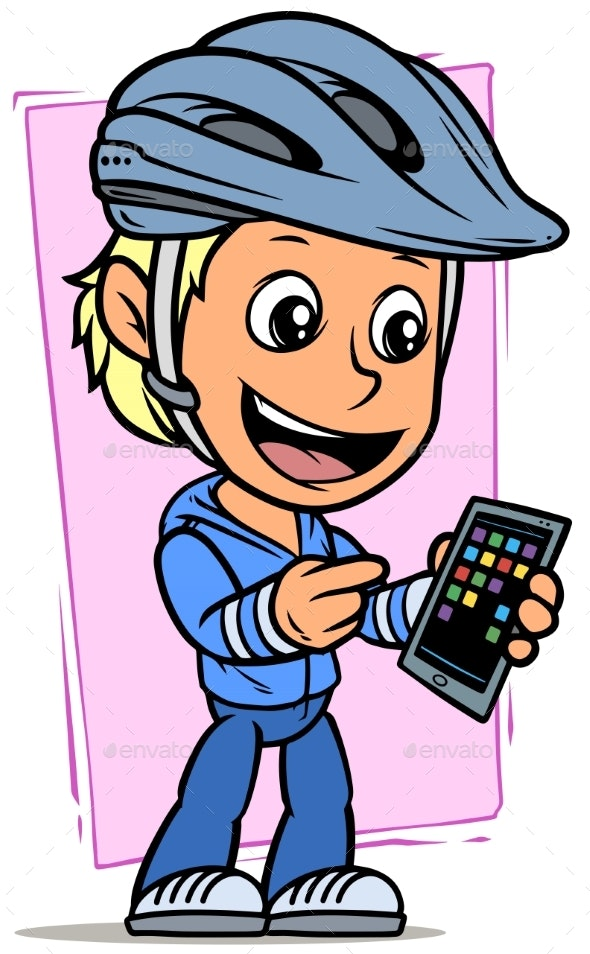 Cartoon Cyclist Boy Character with Smartphone - People Characters