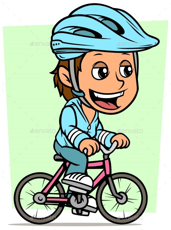 Cartoon Brunette Girl Character Riding on Bicycle - People Characters