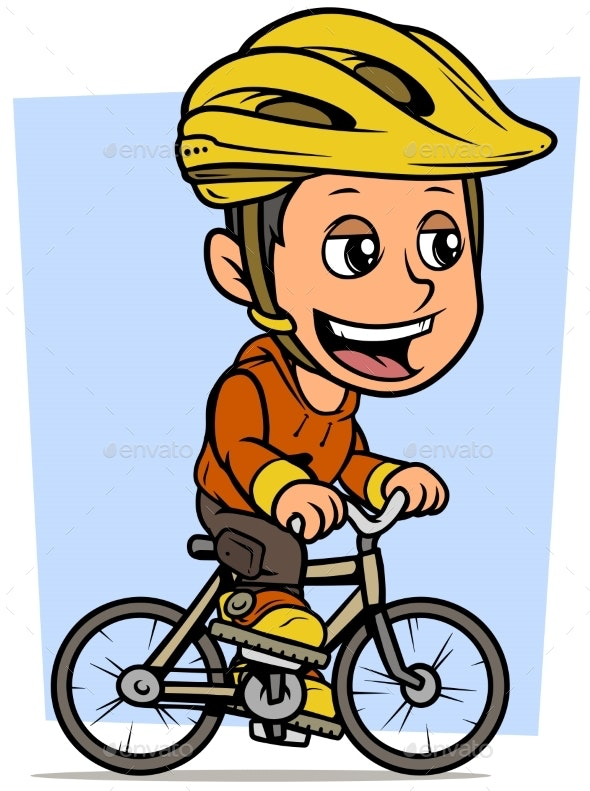 Cartoon Brunette Boy Character Riding on Bicycle - People Characters