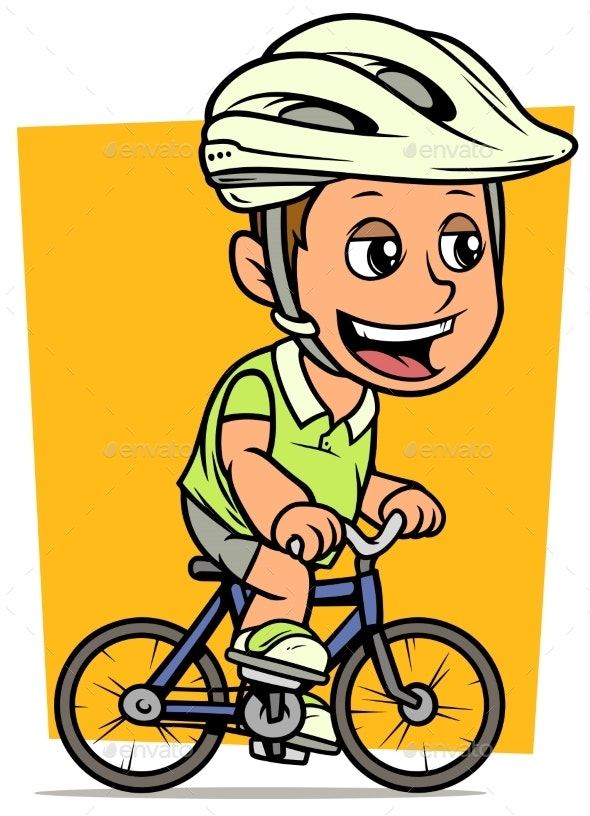 Cartoon Fat Boy Character Riding on Bicycle - People Characters