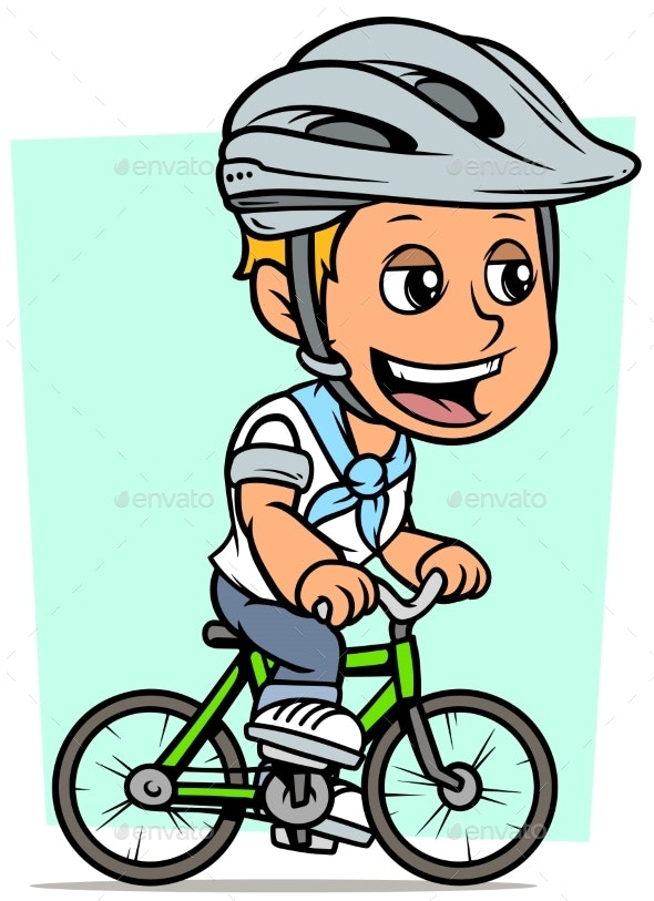 Cartoon Blonde Boy Character Riding on Bicycle - People Characters