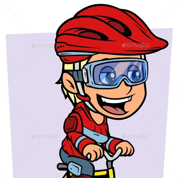 Cartoon Blonde Girl Character Riding on Bicycle