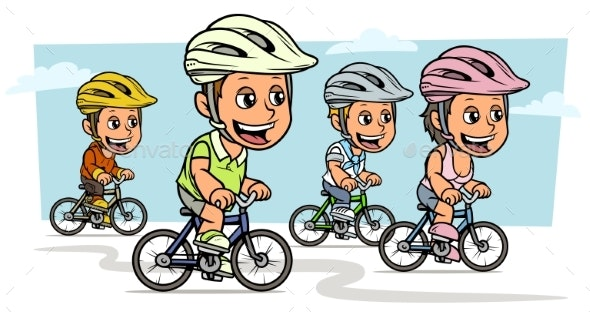 Cartoon Girl and Boy Characters Riding on Bicycle - People Characters