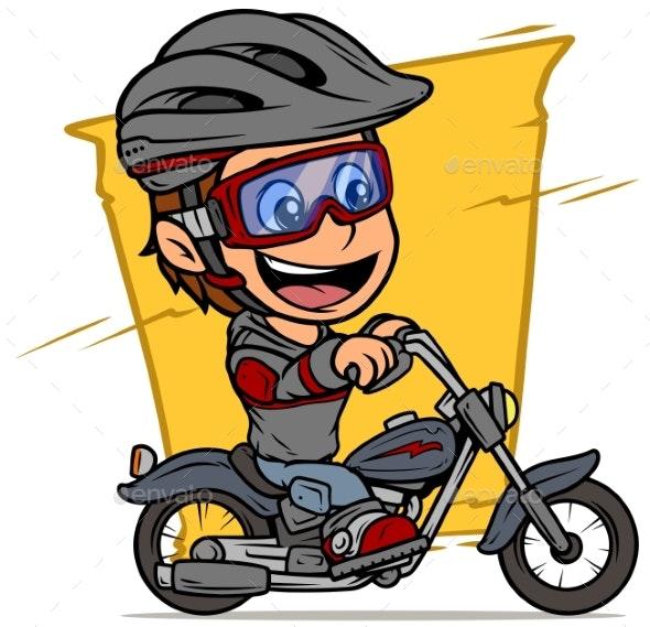 Cartoon Boy Character Riding on Retro Motorbike - People Characters