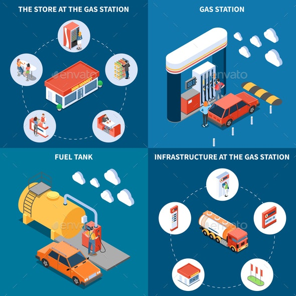 Gas Station Isometric Design Concept - Food Objects