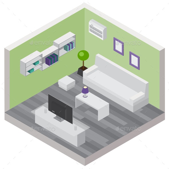 Living Room Isometric Composition - Miscellaneous Vectors
