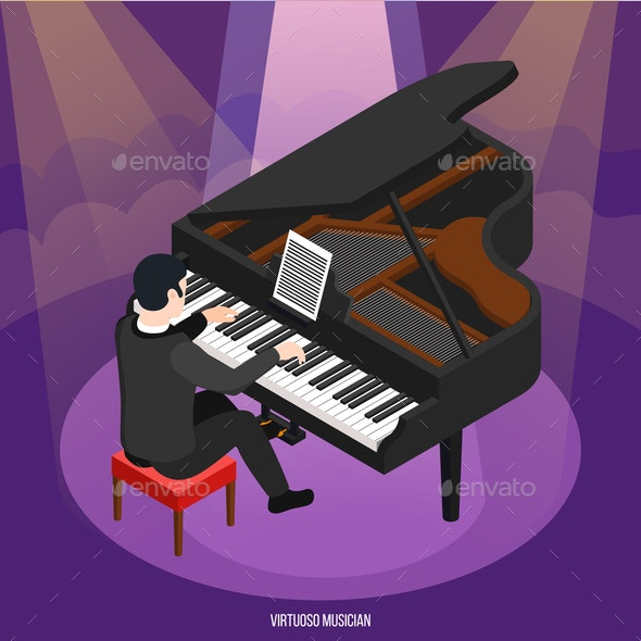 Talented Pianist Isometric Composition - People Characters