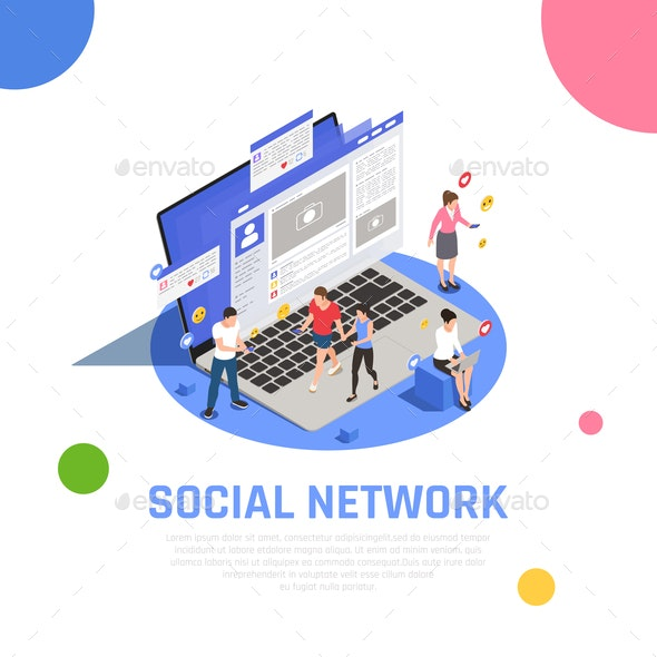 Social Media Isometric Composition - Computers Technology