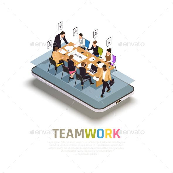 Teamwork Collaboration Isometric Composition - Business Conceptual