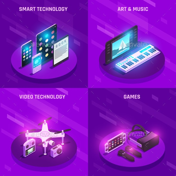 Gadgets Isometric Composition - Computers Technology