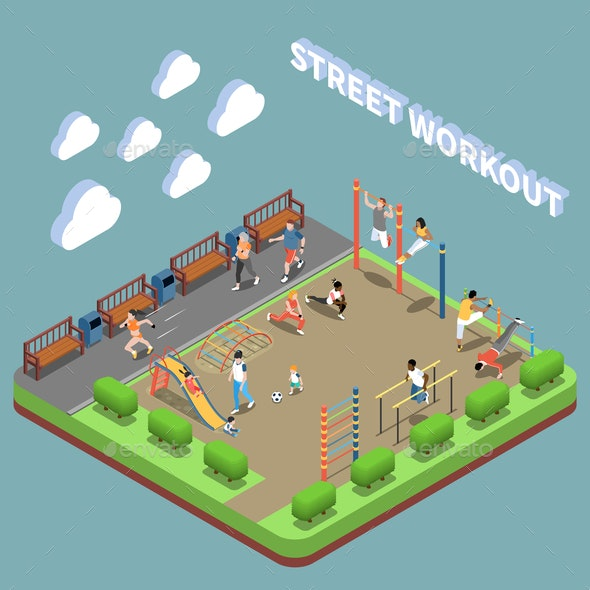 Street Workout Isometric Composition - Sports/Activity Conceptual