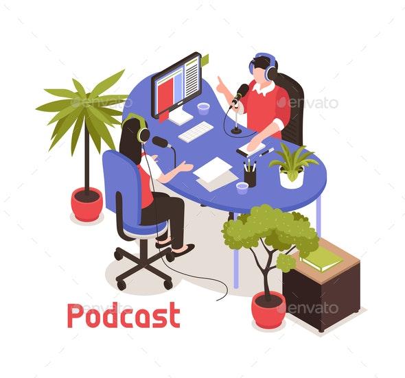 Podcast Isometric Design Concept - Patterns Decorative