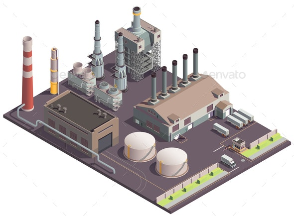 Industrial Factory Site Composition - Industries Business