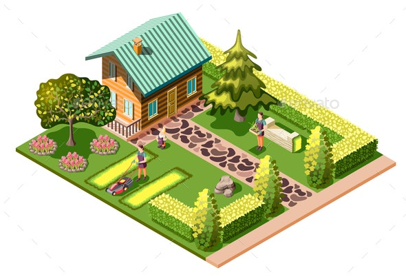 Landscaping Isometric Composition - Buildings Objects