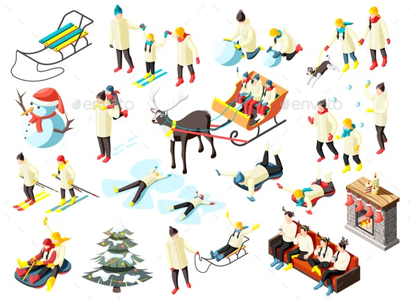 Family Winter Holidays Isometric Icons - People Characters