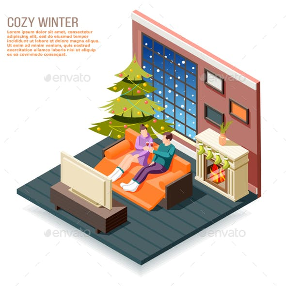 Cozy Winter Isometric Composition