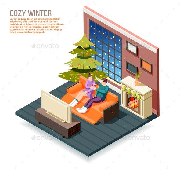 Cozy Winter Isometric Composition - Miscellaneous Vectors