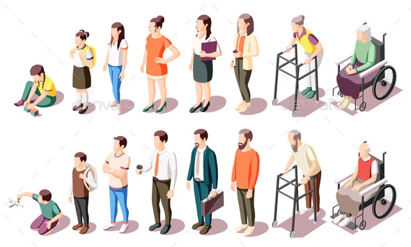 Different Generations Isometric Icons - People Characters