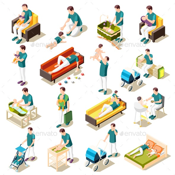 Fathers On Maternity Leave Isometric Set - Miscellaneous Vectors