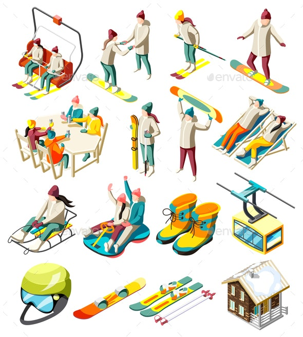 Ski Resort Isometric Icons - Seasons/Holidays Conceptual