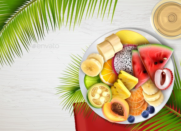 Tropical Fruits Plate Realistic - Food Objects