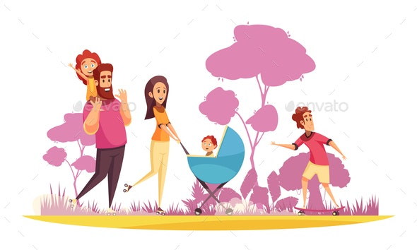 Family Summer Stroll Cartoon Illustration - People Characters
