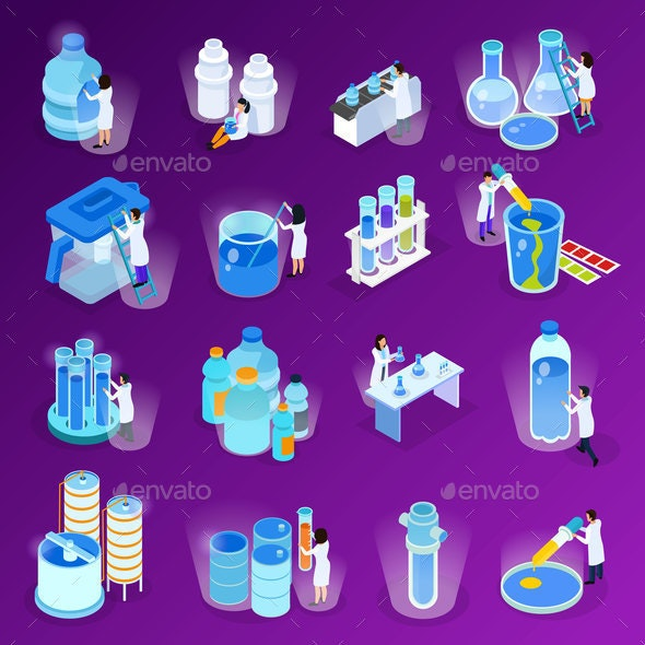 Water Purification Isometric Icon Set - Industries Business