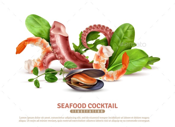 Seafood Cocktail Realistic Composition - Food Objects