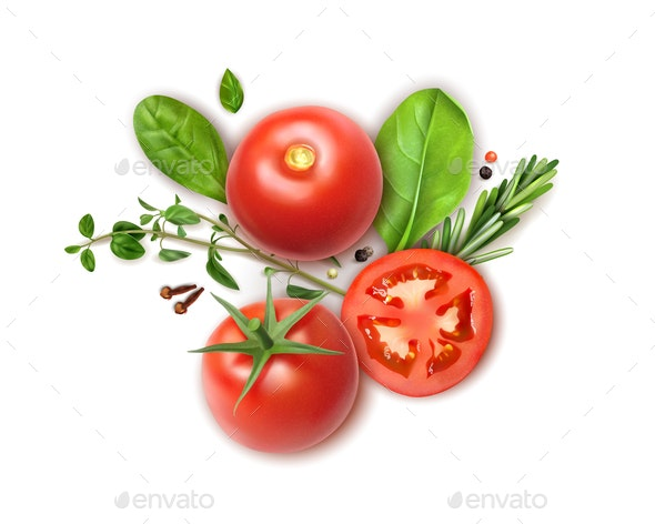 Tomato Herbs Realistic Composition - Food Objects