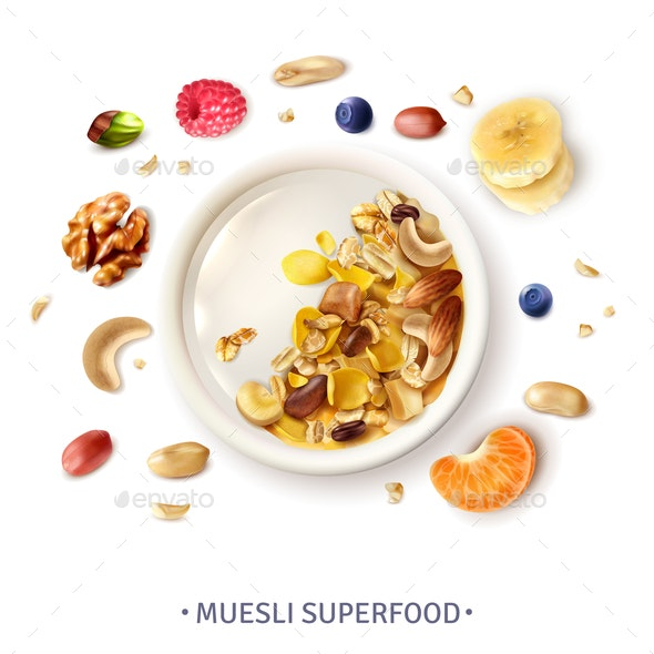 Muesli Superfood Realistic Composition - Food Objects