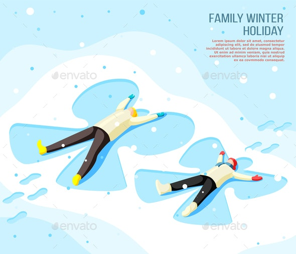 Family Winter Holiday Isometric Background - People Characters